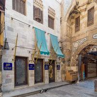 Modern famous Naguib Mahfouz coffeehouse, closed during Covid-19 lockdown, Khan al-Khalili, Cairo