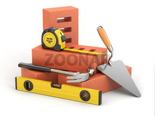 Construction concept. Tools and bricks. 3d