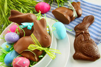 Chocolate Easter bunny and eggs on kitchen counter