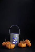 Halloween tin pail with small pumpkins on black