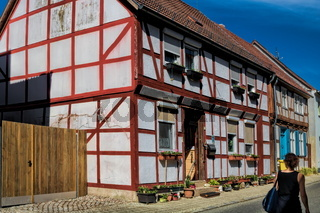 wusterhausen, deutschland - 03.06.2020 - fachwerk in der altstadt