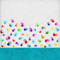 Room with handprints on the wall