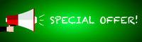 Special Offer Megafon written with chalk on green school board banner vector