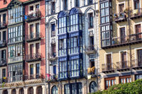 Some typical house facades of the old town of Bilbao in Spain