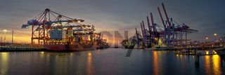 Container terminal in the evening in hamburg harbor