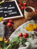Autumn flatlay with letter board, cozy sweater and scarf, cup of coffee, colorful leaves and small apples on wooden background