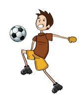 Handdraw Kid Playing Football
