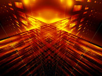 Abstract fractal gold background - lamp or pillar of light