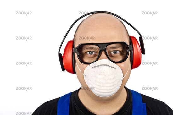 Construction workers with face-shields and hearing