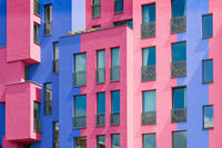 Colorful building facade - multi colored house exterior