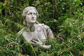 Statue of woman in Villa Borghese gardens, Rome, Italy