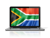 South African flag on laptop screen isolated on white. 3D illustration