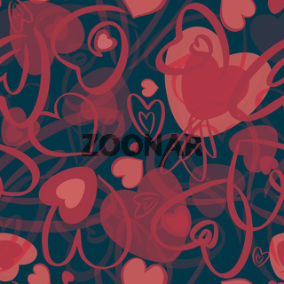 Red valentines seamless pattern with hearts on black background