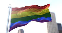 the rainbow flag flapping in the wind.
