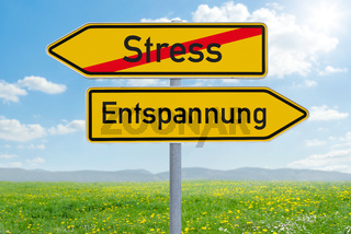 Two direction signs - Stress or Relaxation - Stress oder Entspannung (german)