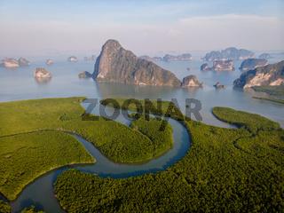 Aerial view Phang Nga Bay, Beautiful View of Phang Nga Bay from Samet Nang She Viewpoint, Thailand. A