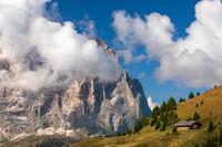 View from Gardena pass to Langkofel mountain, Sassolungo, South Tyrol