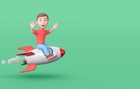 Young Kid 3D Cartoon Character Flying with a Spaceship on Green with Copy Space