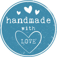 blue round grungy HANDMADE WITH LOVE label