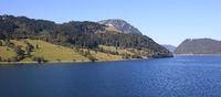 Rural landscape and lake in Innerthal, Schwyz Canton.
