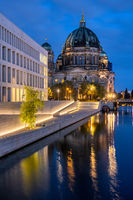 The Berlin Cathedral and the modern backside of the City Palace at night