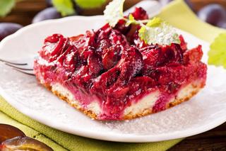 Zwetschgendatschi plum cake as closeup
