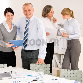 Sales meeting business people review reports