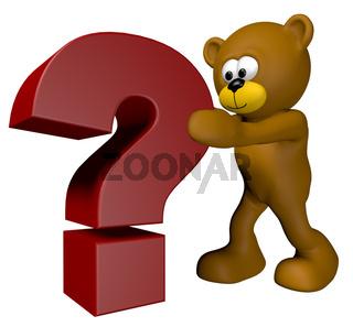 teddybär schiebt ein fragezeichen - 3d illustration