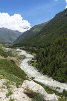 View of Baspa glaciaal river, Himachal Pradesh, India