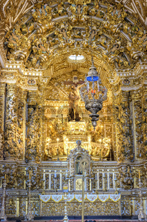 Beautiful gold-plated baroque altar in old and historic church in Salvador, Bahia