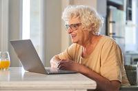 Glückliche Seniorin am Laptop Computer beim Video Call