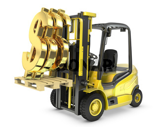 Fork lift truck lifts gold dollar sign