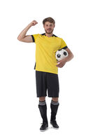 Soccer player celebrate victory