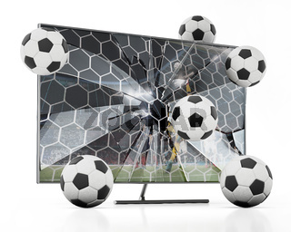 Soccer balls floating out of LCD TV with shattered screen. 3D illustration