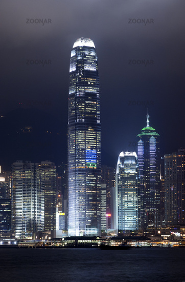 laser light show on the skyscrapers of Hongkong