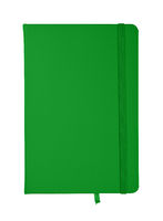 Green leather cover notebook isolated on white