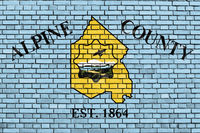 flag of Alpine County, California painted on brick wall
