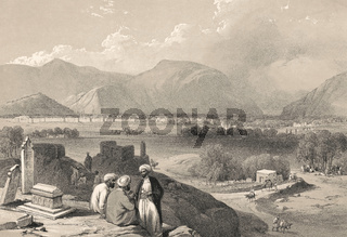 Afghan men at Kaga-Suffa cemetery overlooking the city of Kabul, Afghanistan, First Anglo-Afghan War, sketch by James Atkinson, 1839