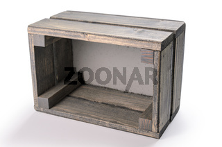 decorative wooden box on white background with soft shadow