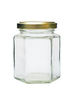 an empty glass jar with metal lid isolated on whit