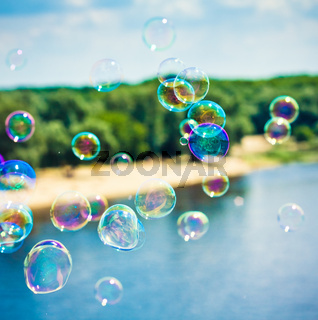soap bubble on bright  background