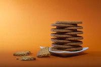 Stack of tasty chocolate cookies