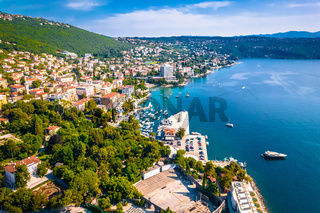 Town of Opatija waterfront aerial view
