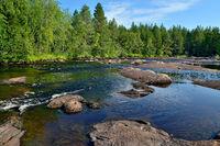 Bridge Threshold on the Pongoma River, North Karelia, Russia