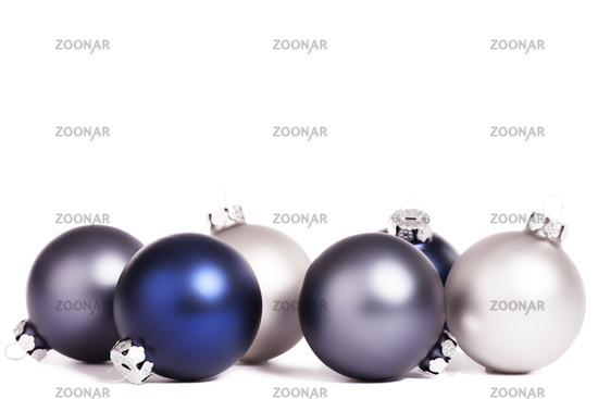 some silver and blue christmas balls
