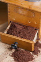 Coffee grinder with coffee powder vertical