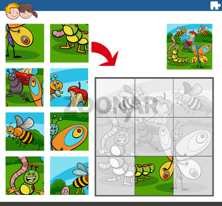 jigsaw puzzle game with insects animal characters