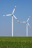 Wind turbines in a grainfield seen in Germany