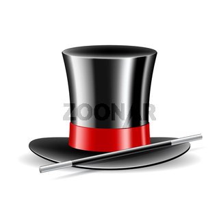 Magic hat and magic wand on white background