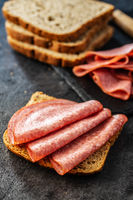 Slice of bread with salami